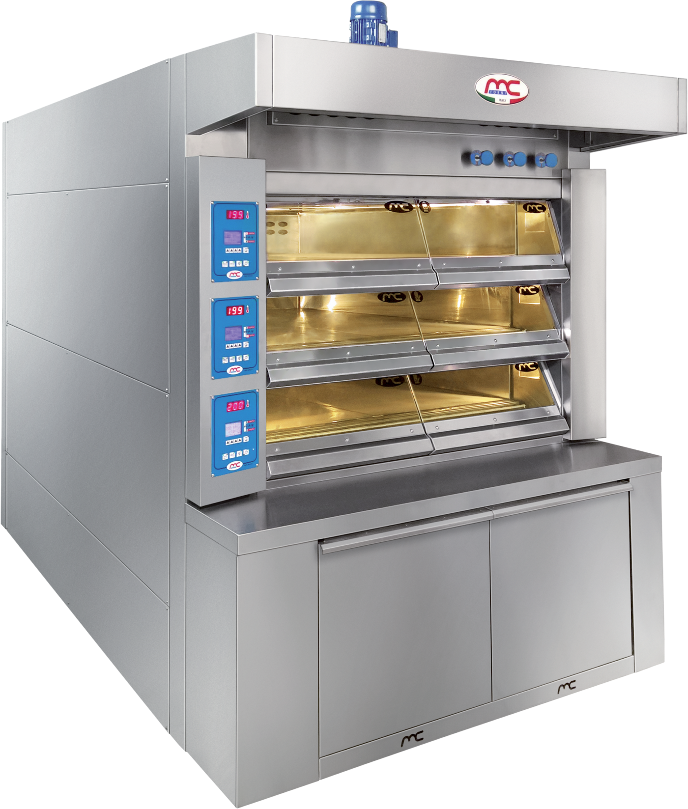 Shelf electric ovens for bread, focaccia bread, pizzas and cakes